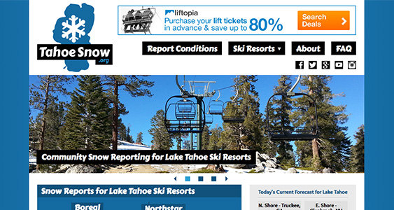 Screenshot of TahoeSnow.org